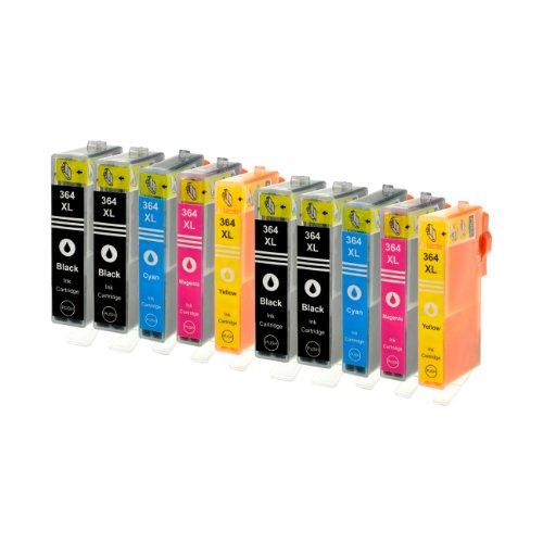 10 Tintenpatronen für HP 364XL 4x BK,2x C,M,Y. Kompatibel mit Chip und Füllstandsanzeige Black 28ml, Color je 18ml