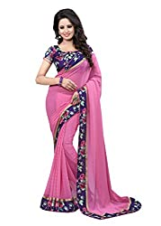 Fashion205 Women Faux Georgette Saree (OCO-AR8-1055_PeachPuff_PeachPuff_Free Size)