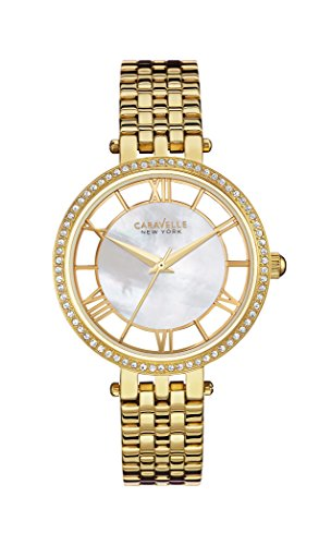 Caravelle New York Women's Quartz Watch with Transparency Analogue Quartz Stainless Steel Coated 44L170