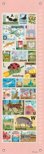 Oopsy Daisy Growth Charts Modern Alphabet on Pink by Lisa DeJohn, 12 by 42-Inch
