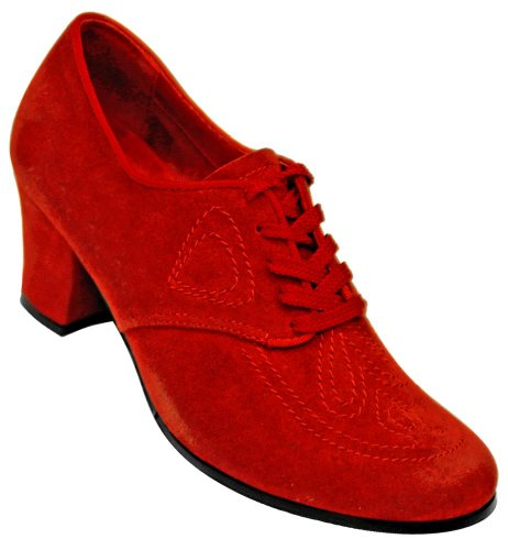 Aris Allen Women's Red 1930s Velvet Oxford Swing Dance Shoes, Size: 10