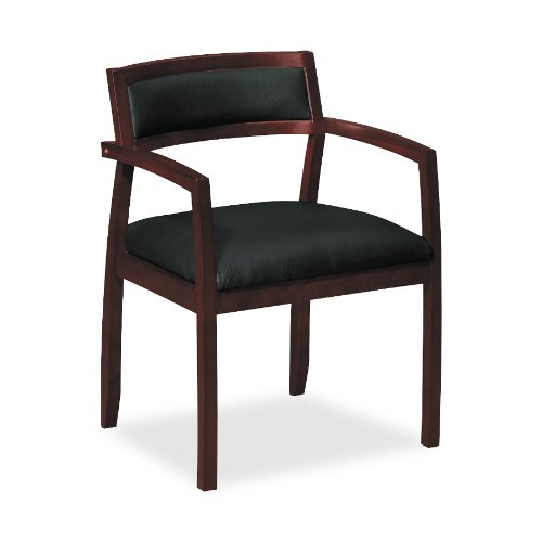 Basyx VL852NST11 Wood Guest Chairs w/Black Leather Seat/Upholstered Back, Mahogany Finish
