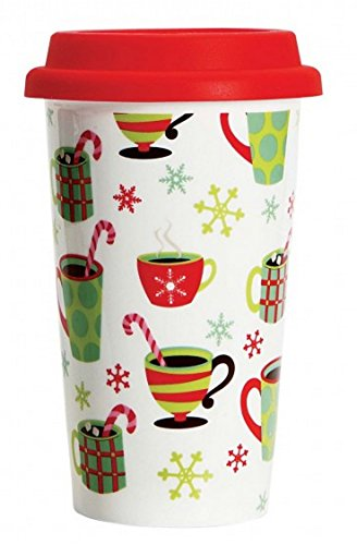 C.R. Gibson Porcelain Double Wall To-Go Cup With Silicone Lid, Cocoa Time