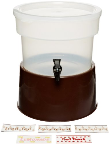 "Carlisle 222701 Polypropylene Round Beverage Dispenser With Base, 3 Gal. Capacity, 12-3/8"" Dia. X 14-3/4"" H, Brown Base"