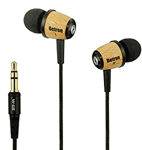 Betron Wood Earphones Heaphones with Dynamic 10mm Driver with improved Bass for Ipods, Ipads , MP3 and MP4 players with 3.5mm Jack