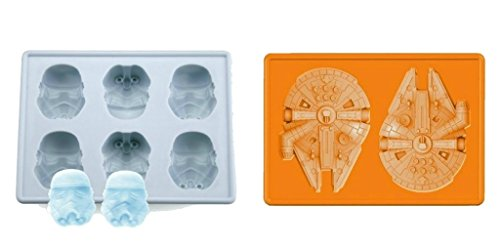 Set of 2 Star Wars Silicone Ice Trays / Chocolate Molds: Storm Trooper and Millennium Falcon