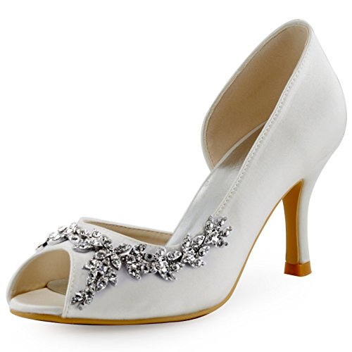ElegantPark HP1542 Women's Peep Toe High Heel Rhinestones Chains D'orsay Satin Wedding Pumps Bridal Shoes Ivory US 8