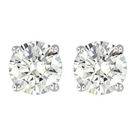 Platinum Overlay Sterling Silver 6mm Round Cubic Zirconia Four-prong Stud Earrings