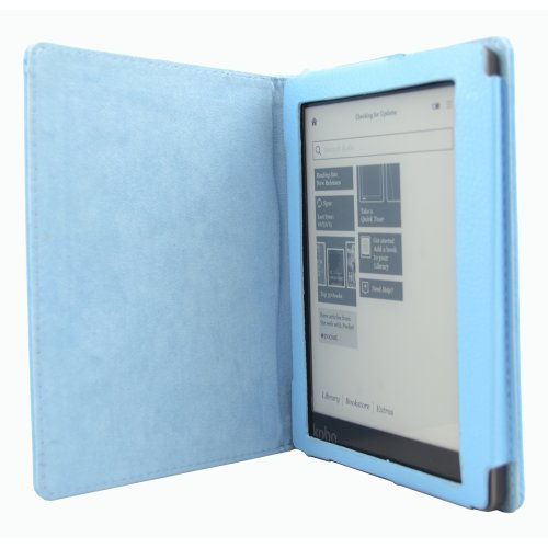 Magnetic Leather Cover Case for KOBO AURA eReader (NOT Fit KOBO AURA HD) (Light Blue) (Kobo Mini Case With Light compare prices)