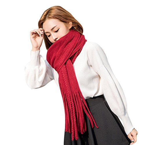 feitong-fashion-women-warm-circle-wool-blend-tassel-multi-purpose-wool-scarf-red
