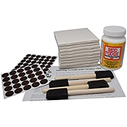 Annys© Coaster Tile Kit: Set of 10 Glossy White Ceramic Tiles 4 1/4 By 4 1/4 Each, Exclusive Guide for Tile Crafts, Mod Podge, 4 Sponge Craft Brushes and Felt Pads
