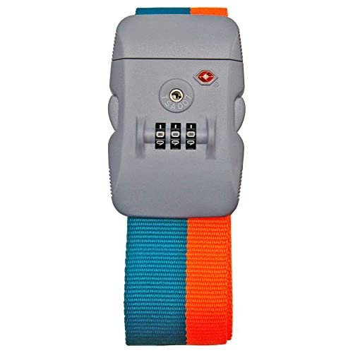 【TSAロック装備】Neon-Light ワンタッチ式 スーツケースベルト (オレンジ×グリーン)