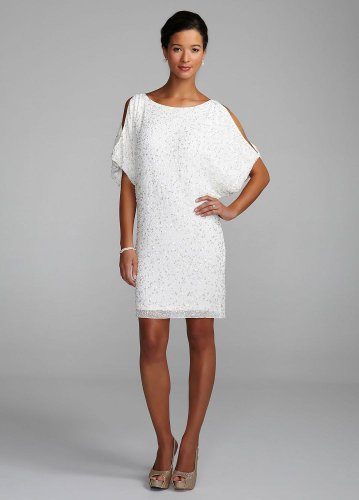 DB Studio Wedding Dress: Cold Shoulder Beaded Sequin Dress