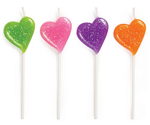 Creative Converting 4 Count Molded Pick Sets Birthday Cake Candles, Glitter Hearts, Assorted - 1