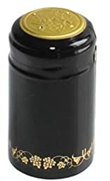 PVC Heat Shrink Capsules With Tear Tabs For Wine Bottles - 60 Count (Black/Gold with Grapes)