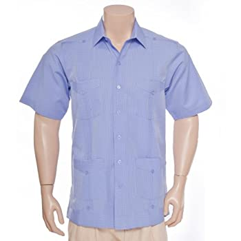 Deluxe Short Sleeve Blue Stripes Guayabera by Mycubanstore