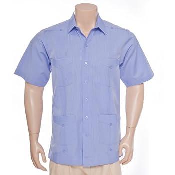 Deluxe Short Sleeve Blue Stripes Guayabera by Mycubanstore