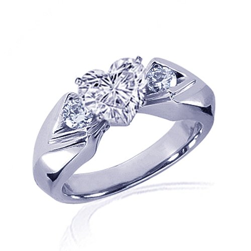 1.30 Ct Heart 3 Stone Diamond Engagement Ring