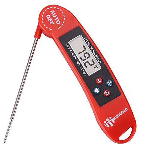 Instant Read Thermometer Digital - Great for BBQ,Meat,Baking,steak,Grilling,Cooking,Liquids & All Professional Food - Electronic Screen and Talking Collapsible Internal long Probe Red Upgrade Version (Jenn Oven Parts compare prices)