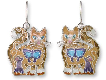 Cat Montage Silver & Enamel Earrings