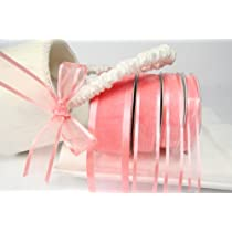 Coral Organza Ribbon With Satin Edge-25 Yards X 3/8 Inches