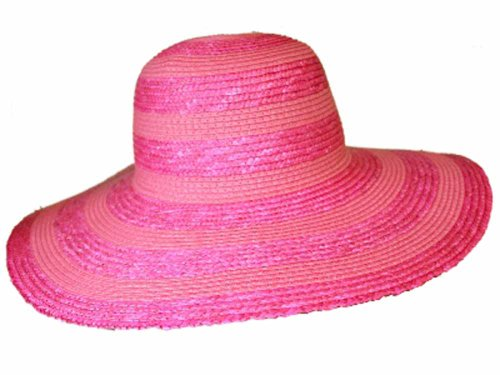 Ladies Packable Wide Brim Straw Summer Fashion Sun Hat Striped Banding Pink image