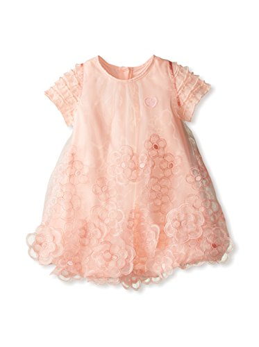Miss Blumarine Kid's Ruffle Sleeve Dress with 3D Flower Effect