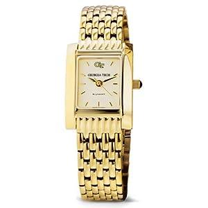 Georgia Tech Ladies Swiss Watch - Gold Quad Watch with Bracelet by M.LaHart & Co.