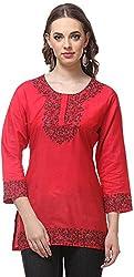 Vedanta Women's Regular Fit Cotton Kurta (KICTSSRN051RED_RED_XL, RED, X-Large)