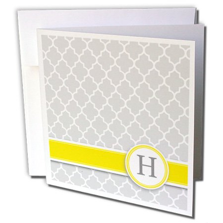 InspirationzStore Monograms - Your personal name initial letter H - monogrammed grey quatrefoil pattern - personalized yellow gray - 12 Greeting Cards with envelopes (gc_154574_2)