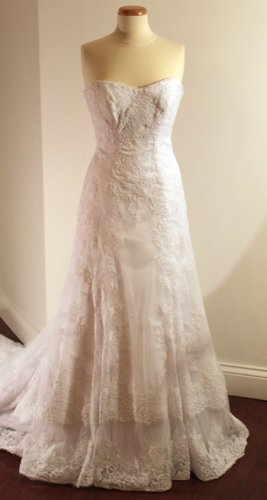White Lace Wedding Dress  Optional Flower Sash,