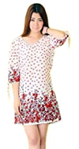 White Maternity Nursing Breastfeeding Red Floral Dresses