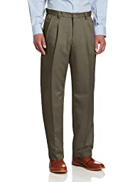 Haggar Men\'s Cool 18 Hidden Expandable Waist Pleat Front Pant,Taupe,38x30