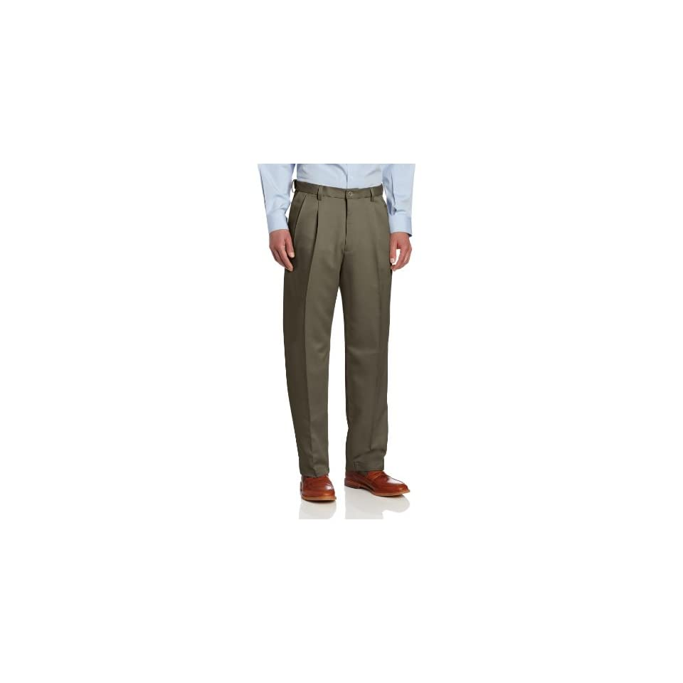 a9146dc64c6 Haggar Mens Cool 18 Gabardine Hidden Expandable Waist Classic Fit Pleat  Front Pant