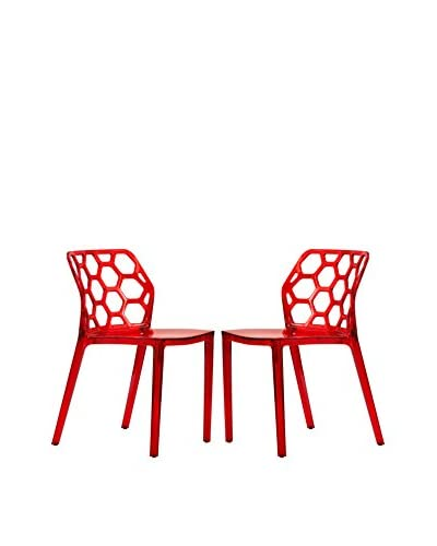 LeisureMod Set of 2 Dynamic Modern Dining Chairs, Transparent Red