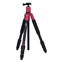 Fotopro Colorful and Stylish Aluminium Tripod + Low Angle + Payload 5kg Color-Red