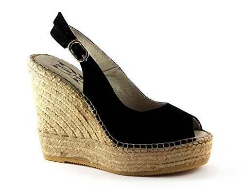 DIVINE FOLLIE SARA37 nero sandali donna zeppa corda cinturino 36