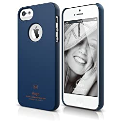 elago S5 Slim Fit Case for iPhone 5 + Logo Protection Film included - eco friendly Retail Packaging - Soft feeling Jean Indigo