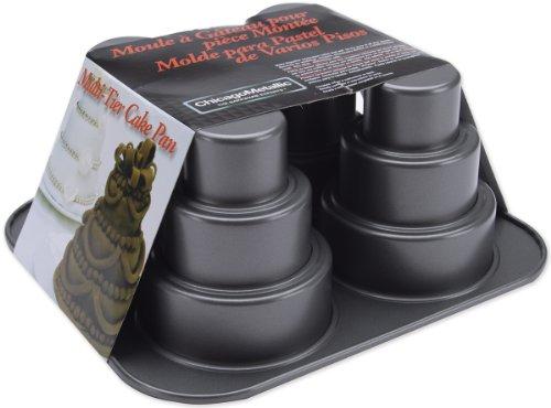 Chicago Metallic Multi Tier Cake Pan 4 Cavity, 10.6 x 9.60 x 4.5 Inch (Mini Wedding Cake Pans compare prices)