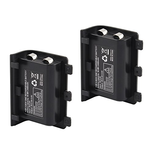 Tera 2Pcs 2400mAh Rechargeable Replacement Battery Pack for XBOX ONE Controller with Charge Cable Black with Tera Dust Cloth