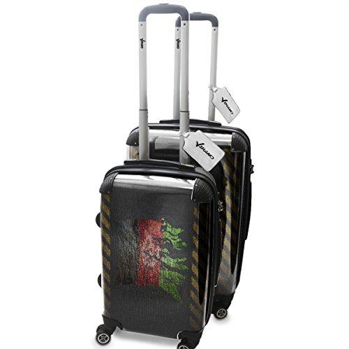 Drapeau Déchiré Afganistan, 2 pièce Set Luggage Bagage Trolley de Voyage Rigide 360 degree 4 Roues Valise avec Echangeable Design Coloré. Grandeur: Adapté à la Cabine S, M