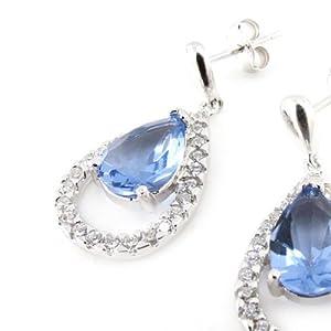 Silver earings 'Celestina' blue tanzanite.
