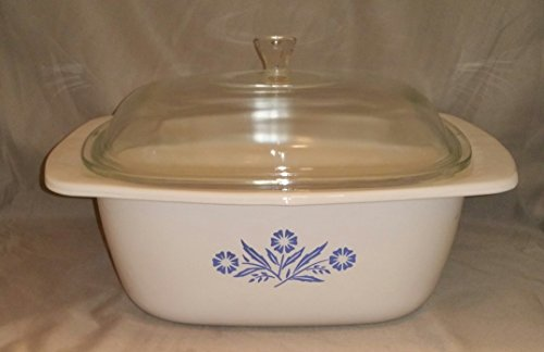 Vintage Large Corning Ware Cornflower Blue Glass 4 Quart Dutch Oven w/ Lid - P-34-B