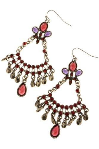 Karmas Canvas Jewel Crescent Chandelier Earrings (Purple/Red) front-1006873