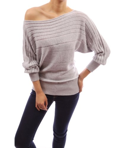 PattyBoutik Women's on / off one shoulder Semi-sheer Sweater (Light Gray L)