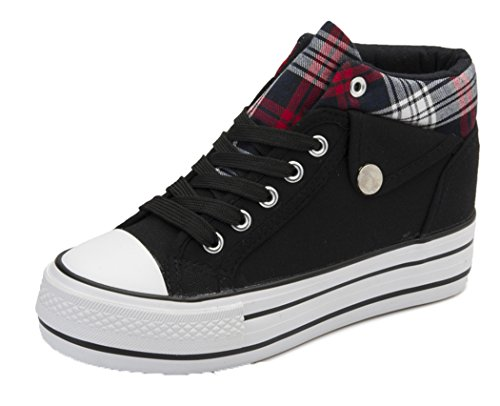 Wuyiwan Womens Increase Casual Fashionable Lace-up Plaid Plats Canvas Shoes(7 B(M) US, Black)