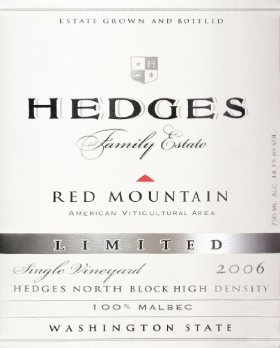 2006 Hedges Family Estate Single Vineyard Limited Malbec 750 Ml