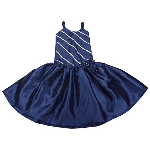 Fashion Lecxy Fashion Girls Satin Lace Blue Dress