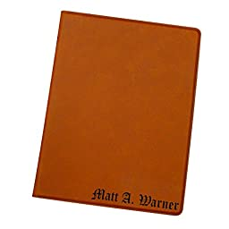 Engraved Custom Monogrammed Business Portfolio with Leather Journal Notepad Padfolio Gifts