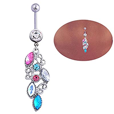 Sannysis Mixed Color Rhinestone Jewelry Navel Body Piercing Belly Button Rings